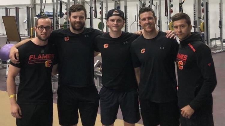 Calgary Flames Summer 2019 Strength and Conditioning Staff (L-R): Jason Tremblay, Caylin Relkoff, Grayson Cameron (from the Humboldt Broncos), Ryan Van Asten (Head S&C), Alan Selby (Assistant S&C)