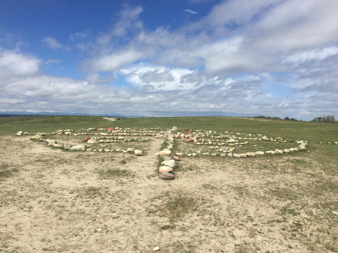 The horizon at Nose Hill aligns with a traditional Medicine Wheel