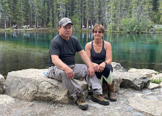 Darrell and Shirley Parker on Grassi Lake Trail, just before his heart attack.