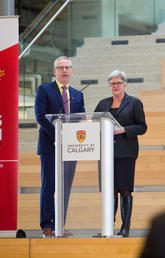 Ed McCauley, vice-president (research) at the University of Calgary, and Dru Marshall, provost and vice-president (academic), speak at a town hall on Thursday where the renewed Academic and Research Plans were presented. Photo by Riley Brandt, University of Calgary
