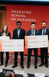Judges and RBC Fast Pitch 2018 winners, from left: Jim Dewald (dean, Haskayne School of Business), Tasha Brown, Joannie Kwok, Ally Penic, Aniket Sagar, Richard Zhang, Kris Hans, Fizza Owais, and Trevor Winkler.